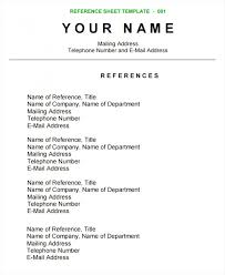 Template Best Free Reference Page Template For Resume Example Sheet