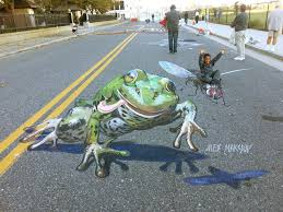the frog in art chalk festival in atlantic city