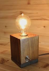 Rustic minimalist wooden table lamp