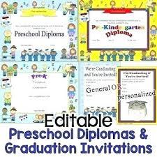 Preschool Graduation Certificate Editable Preschool Graduation Invitations As Well As K Graduation Invitations