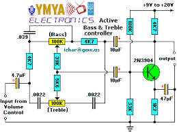 active bass tremble controller active bass tone controller circuit diagram