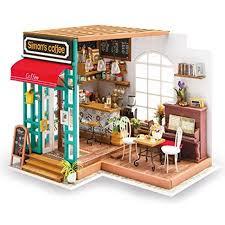 robotime dollhouses diy kit miniature coffee house kits accessories furniture