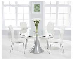ex display paloma 135cm round glass dining table with four cream calgary chairs