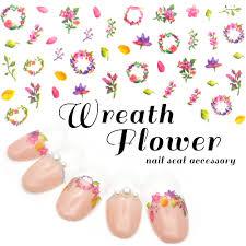 楽天市場リースフラワーネイルシールm407 リーフ 花柄 リース