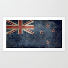 new zealand flag grungy retro style art print by brucestanfield society6