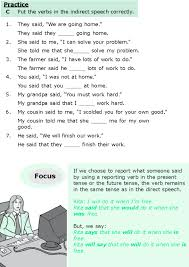 Direct and Indirect Speech Exercises Present Tense   Homeshealth.info