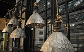 set of 5 antique french mercury glass pendant lights