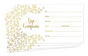 Gift Certificate Designer Blank Gift Certificates For Business 25 Gold Foil Gift Certificate Cards With Envelopes For Spa Salon Restaurants Custom Client Vouchers For