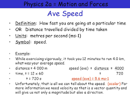 physics 2a motion and forces ave sd definition how fast you are going at