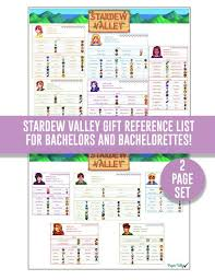 stardew valley gift lists bachelors and by papertally on etsy