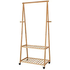 HOMFA Bamboo Clothes Rack on Wheels Rolling Garment Rack with 4 Coat Hooks  and 2-