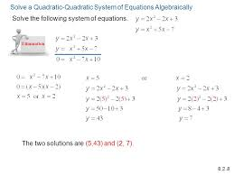 systems of quadratic equations worksheet