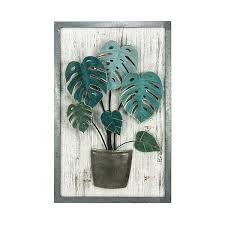 arden green metal palm leaf wood wall art