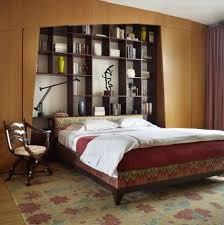 master bedroom headboard bookcase in an apartment at east lake s drive in chicago illinois