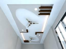 ceiling design for living room with two fan unique false
