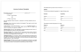 License Contract Template Contract Templates