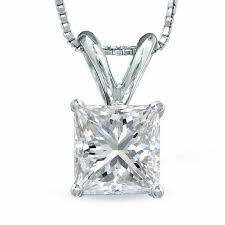 1 ct certified princess cut diamond solitaire pendant in platinum i vs2