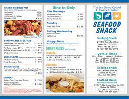 Seafood Shack menu in Dallas, Texas, USA