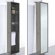 Oak Bathroom Storage Cabinet April Rotating Floor Linen Cabinet Gray Oak Finish With Mirror