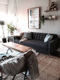 jute rug tufted couch dark grey couch
