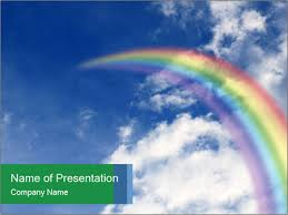 Rainbow In Blue Sky Powerpoint Template Infographics Slides