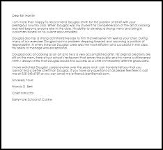 Chef Recommendation Letter Example Letter Samples Templates