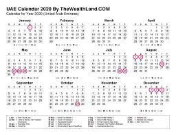 2020 Calendar With Uae Public Holidays The Wealth Land