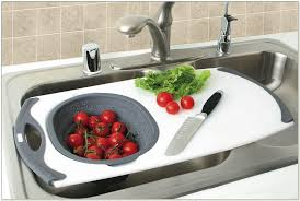 over the sink colander and cutting board