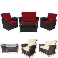 4 seater rattan garden furniture set summer conservatory outdoor patio sofa set