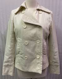 gap ivory beige tan corduroy peacoat pea coat women s sz medium