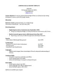 Chronological Resume Template Free Chronological Resume For Canada Joblers Shalomhouseus 10