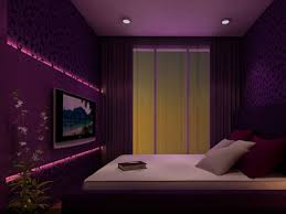 Small Tv For Bedroom Bedroom Elegant Purple With Tv On Wall And Recessed Lighting For