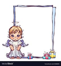 cute angel with frame vector image