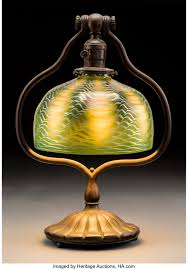 Tiffany Studios Bronze Desk Lamp With Green Damascene Glass Shade