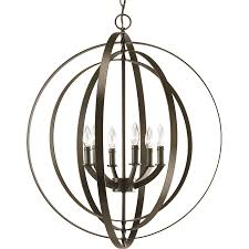 progress lighting equinox 27 75 in 6 light antique bronze globe chandelier