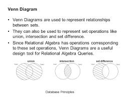 Set Operations And Venn Diagram Venn Diagrams Database Principles Ppt Video Online Download