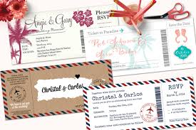 Boarding Pass Wedding Invitations With Detachable Rsvp Cards
