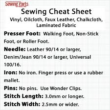 Leather Sewing Thread Size Chart How To Sew Vinyl Faux Leather And Oilcloth Sewing Parts