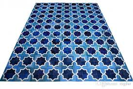 blue and white leather area rug moorish star design patchwork carpet carpet installation costs carpet s and installation from rugfur 803 02 dhgate