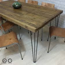 hairpin legs vine industrial reclaimed timber mid century farm dining table 1960 s