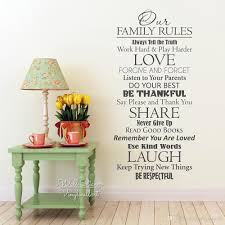 Our Family Rules Quote Wall Sticker Home Quote Vinyl Wall Decal Love Quote Wall Decor Vinyl Sticker Q229