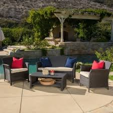 brown wicker outdoor furniture dresses: outdoor santa lucia  piece brown wicker conversation set with cushions by christopher knight home