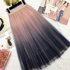 Gogoyouth Long Tulle <b>Skirt</b> Women 2018 Summer Autumn <b>Gradient</b> ...