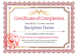 Certificates Of Completion Templates Certificate Of Completion Free Quality Printable Templates Download