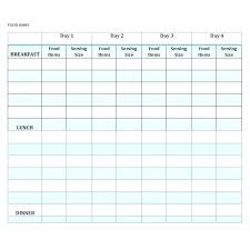 Food Diary Spreadsheet Food Journal Template Daily Food Diary