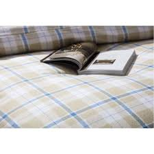 check brushed cotton duvet cover set in cream white blue