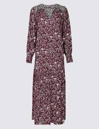 <b>Floral Print Long Sleeve</b> Shirt Maxi Dress | M&S Collection | M&S