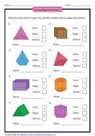 Solid Figures Faces Edges Vertices Chart Solid 3d Shapes Worksheets