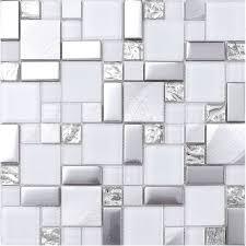white gray metal glass mosaic kitchen backsplash tile