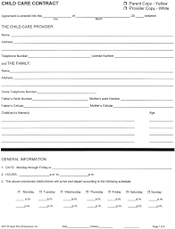 babysitting schedule template babysitting agreement template excellent home child care forms free